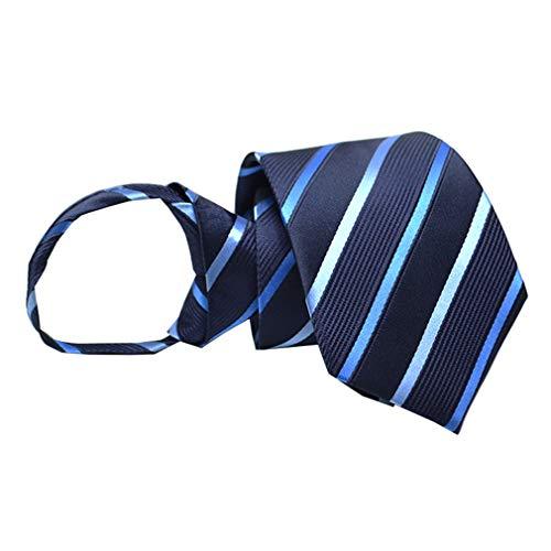BESMODZ Men's Classic Navy Blue White Stripe Zipper Ties Wedding Formal ()