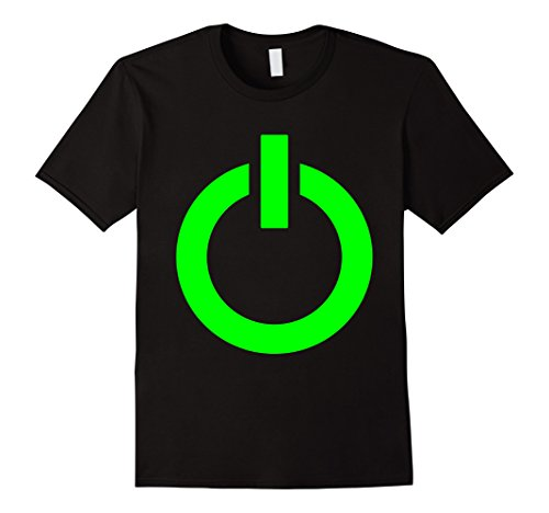Mens Gaming Power Button Glow Neon Green T-shirt XL Black (Black Power T-shirt Button)