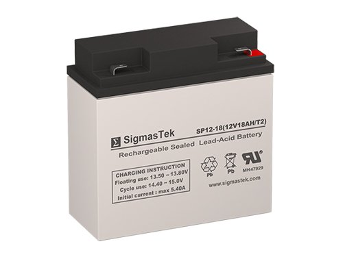 12 Volt 18 Amp Hour Sealed Lead Acid Battery Replacement with F2 Terminals by SigmasTek SP12-18