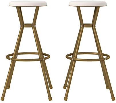 COSCO Stylaire Bar Stool, Gold White, 2-Pack Barstools