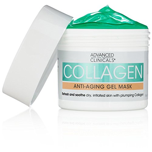 Advanced Clinicals Collagen Anti-Aging Gel Mask with Coconut Oil and Rosewater. Plumping mask for wrinkles, fine lines. Supersize 5oz (5oz)