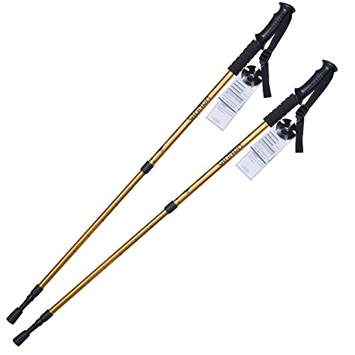Elaine'Store Trekking Poles Non-slip Waterproof Adjustable Retractable Anti-Shock Durable Aluminum Walking Hiking Climbing Sticks for Outdoor Sport Cross-country Travel - 1 Pair (golden)