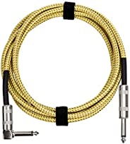 Amazon Basics 1/4 Inch Tweed Cloth Jacket Right-Angle Instrument Cable - 10 Foot (Yellow & Br