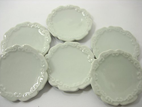 6x50mm White Scallop Side Plate Dish Dollhouse Miniatures Barbie Ceramic 12678