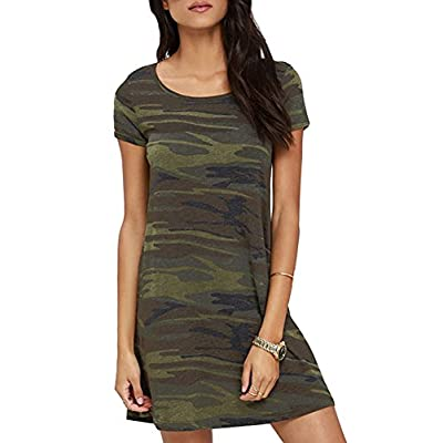 FV RELAY Women's Summer Casual Short Sleeve Camo Print Dresses Stretch Swing Dress for Work at Women's Clothing store