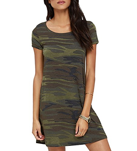 (FV RELAY Women's Summer Casual Short Sleeve Camo Print Dresses Stretch Swing Dress for Work (M,Army Green))
