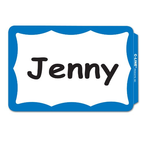 C-Line Pressure Sensitive Peel and Stick Name Badges, Blue Border, 3.5 x 2.25 Inches, 100 per Box (92265)