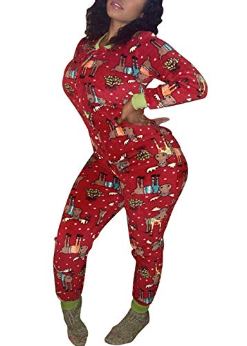 ca1f45d904 Just For Future Women s One Piece Onsie Print Sleepwear Ugly Christmas  Pajamas Jumpsuit Rompers Clubwear Nightwear at Amazon Women s Clothing  store