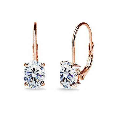 Rose Gold Flashed Sterling Silver 7x5mm Oval Solitaire Dainty Leverback Earrings Made with Swarovski - Solitaire Drop Earrings