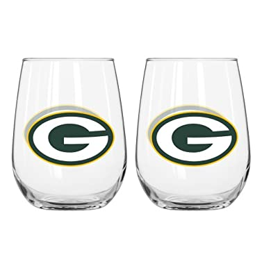 NFL Green Bay Packers Curved Beverage Glasses (Pack of 2), 16-Ounce