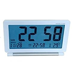 [Upgraded] DELIWAY Foldable Travel Alarm Clock With Backlight, Week Date Temperature Display, World Time Table, Mini Pocket Flip Clock (White)