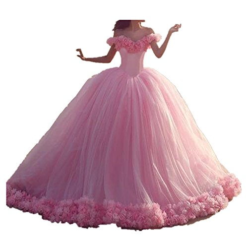Uryouthstyle Shoulder Quinceanera Gowns A-Line Puffy Prom Dresses US16 Pink by Uryouthstyle
