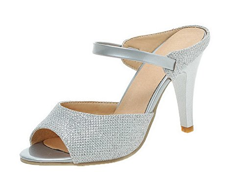 VogueZone009 Women High-Heels Solid Pull-On Blend Materials Peep Toe Sandals Silver