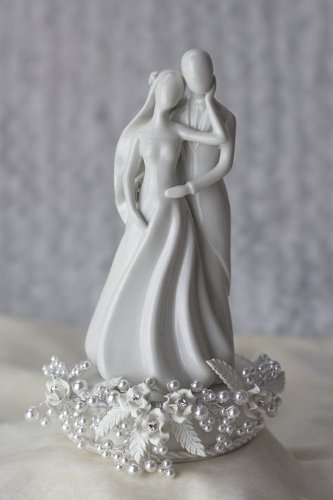 Rose and Pearls Silhouette of Love Wedding Cake Topper: Base Color: GOLD WIRING