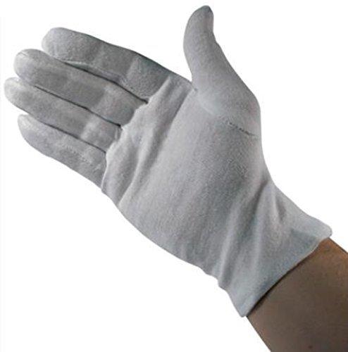 Pristine Microfibre Protective Professional Gloves Non Tarnish for Gold Silver & Brass (WHITE LARGE) ()