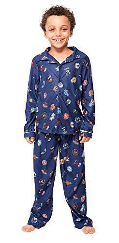 Ultra Game Boys' NBA 2 Piece PJs Lounge Flannel Set, Multi-Team, Navy, 7