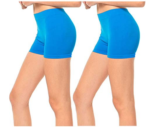 Gilbins 2 Pack Women's Seamless Stretch Yoga Exercise Shorts ()