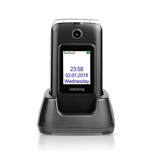 Ushining 3G Unlocked Senior Flip Phone Dual Screen, FM Radio, Easy to Use Mobile Cell Phone, 2.4