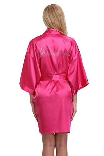 KimonoArt Satin Rhinestone Short Kimono Robe For Bridesmaid Hot-Pink XS