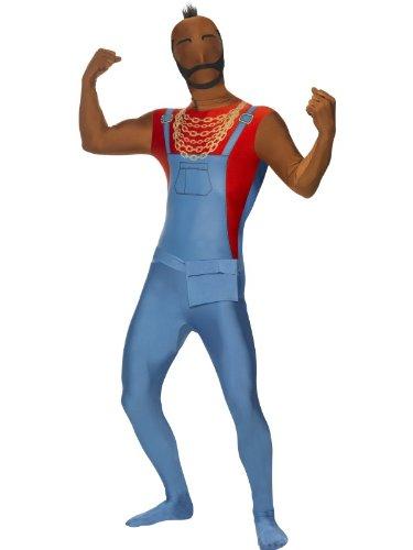 [Smiffys Men's Blue/Red Mr T Second Skin Costume - Chest 42