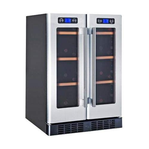 (Kucht K148AH22 40-Bottle Dual Zone Wine Cooler Built-In with Compressor, Stainless Steel)