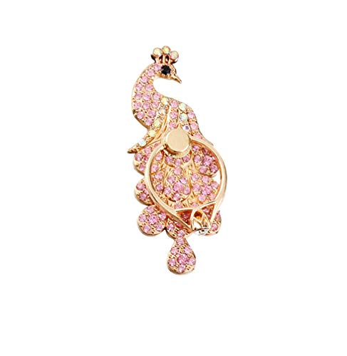 UCLL Universal Finger Stand Bracket Buckle Rose Gold Diamond Crown Sexy Mouth Stander Phone Holder (Peacock)
