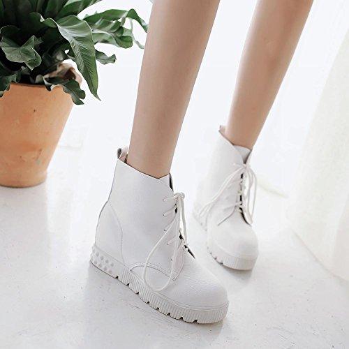 Schouder Dames Lace Up Eenvoudige Comfort Casual Verborgen Sleehak Mode Sneakers Wit