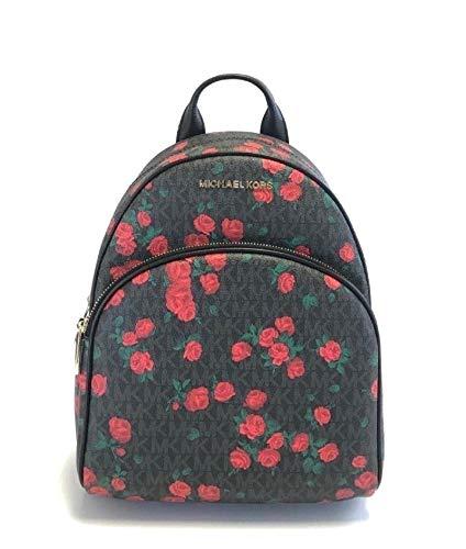 Michael Kors Abbey Medium Black Signature Leather Roses Backpack Bag