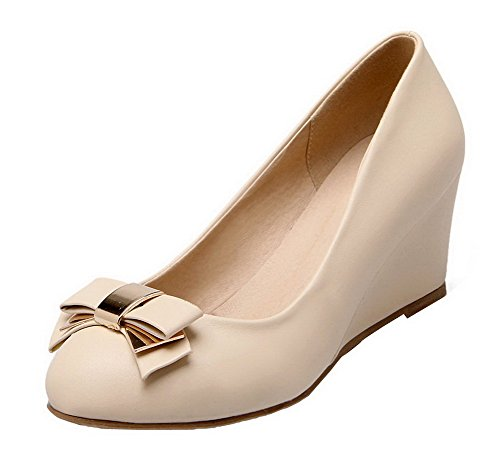 Soft Closed Toe Material AmoonyFashion Kitten Shoes apricot Heels Solid Pumps Women's qSw7xCCO