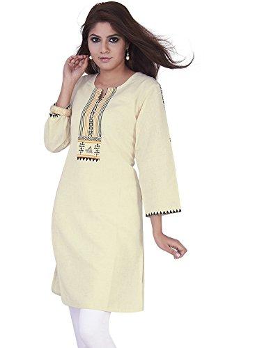 IndusDiva Women's Cream Cotton Straight Cut Kurti