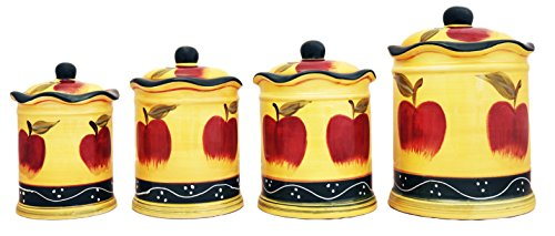 4 Pc Country Apple Canister Set (Apple Canister Sets)
