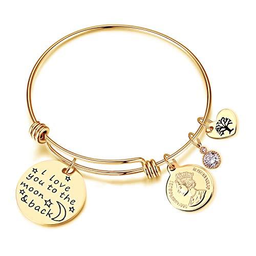 (EGOO YAMEE Charm Bracelet Adjustable I Love You to The Moon and Back Bangle)