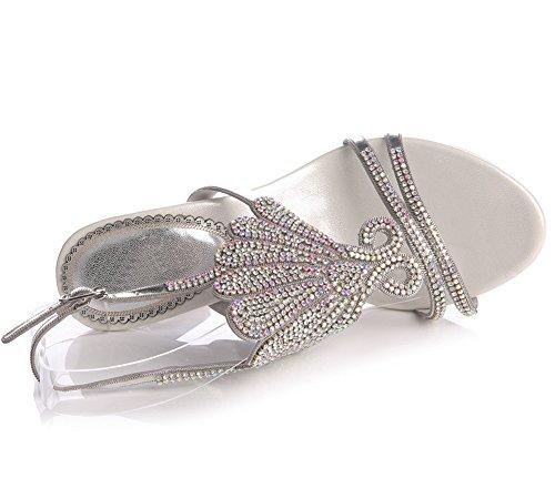 Fatto 9 Tacco 42 Anno Donna Cinghietti uk A Fine Silver Zpl Nozze Le Sera Nuziale Eur Medio Mano Festa Sandali Signore Ballo Diamante Di TIqx41gw