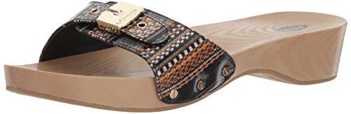 Global Stripe - Dr. Scholl's Shoes Women's Classic Slide Sandal, Black Global Stripe, 9 M US