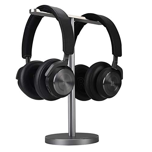 Double Headphones Stand, JOKItech Aluminum Alloy Desk 3 Headsets Holder Supporting Desktop Earphone Hanger Mount Storage Rack with Heavy Base for Home and Office Display Spacegrey