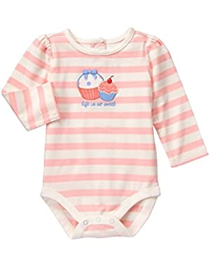 Baby Pink and White Stripe Cupcake Bodysuit