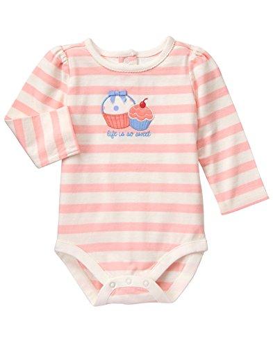 Gymboree Baby White Stripe Cupcake Bodysuit, Sweet Pink, 3-6