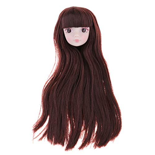 Prettyia 1/6 BJD Makeup Face Head Sculpt Rooted Coffee Wig Hair Doll Replacement Body Part