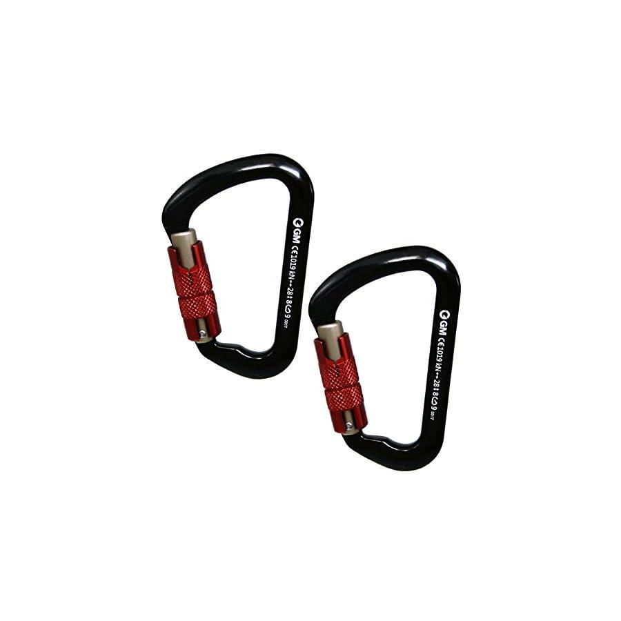GM CLIMBING 28kN 6295lbf Twist Locking Carabiner D Shape for Mountaineering Rock Climbing Rappel Hunt Hammock CE UIAA