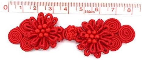 chiwanji 中国結び ボタン 花 エレガント 繊細 チャイナドレス 衣料品アクセサリー 10ペア 赤