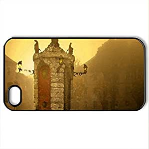 Town Square Sunrise - Case Cover for iPhone 4 and 4s (Watercolor style, Black)