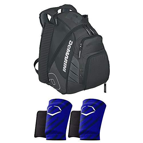 DeMarini Voodoo Rebirth Baseball Backpack (Black) and 2 EvoShield MLB Protective Wrist Guards (Blue,Large)