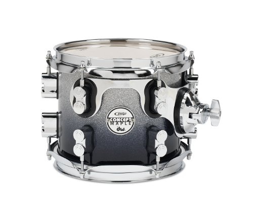 Pacific Drums PDCM0708STSB 7 x 8 Inches Tom with Chrome Hardware - Silver to Black Fade - Black Pacific Tom Drum