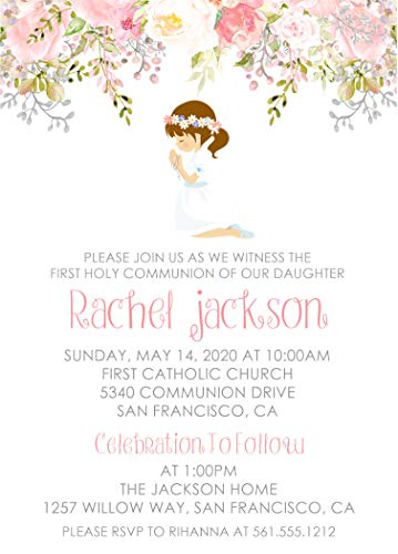 Girls First Holy Communion Invitations, First Holy Communion Decor, Girls Communion Invitations, Girls First Communion Invitations -