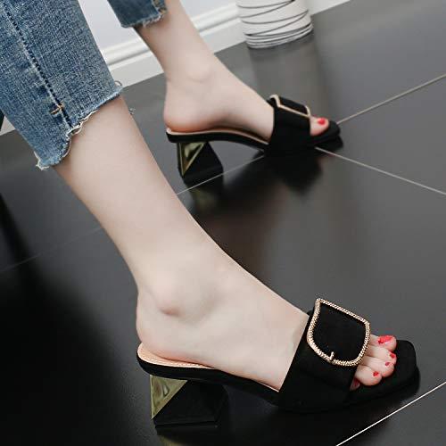 High women's Cool Slippers Drag Heel Rough Sandals Bow Square Medium Heels 6Cm Fashion Summer GTVERNH Head Simple Tie Khaki shoes Retro UBICIq