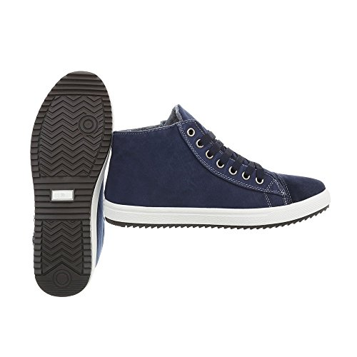 Mode Baskets Plat design Sneakers High Chaussures Femme 10 Ital 1 Dunkelblau Espadrilles N xfw6qZAWU
