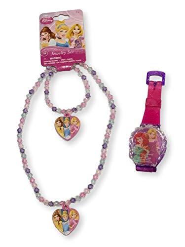 Disney Princess Beaded Charm Necklace & Bracelet Princess Lip Balm Watch Gift Set (Belle, Cinderella & Rapunzel)