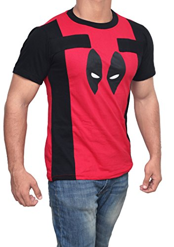 Miracle DeadPool Costume Shirt - Red and Black - Cotton Dead Pool Costume T-shirt (S)