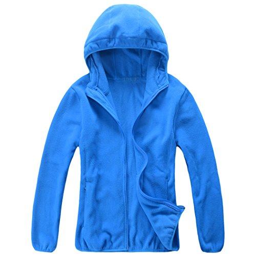 Fleece Zip Hoodie Jacket (ICOOLYI Women's Full-Zip Polar Fleece Jacket Lightweight Sport Hoodie W407 (Large, Blue))