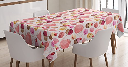 """Ambesonne Retro Tablecloth, Teaparty with Cupcakes Macarons Teapot and Cups Cherries Berries Polka Dots, Rectangular Table Cover for Dining Room Kitchen Decor, 60"""" X 90"""", Brown Cream"""
